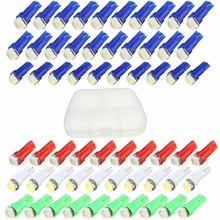 60pcs Car Interior Light LED T5 LED 1 SMD 5050 Dashboard Wedge led t5 Car Light Bulb Lamp Red/Blue/Green/Ice Blue/White 12V
