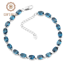 GEM'S BALLET 5x7mm London Blue Topaz Chain Link Bracelet Pure 925 sterling silver For Women Luxury Fine Costume Jewelry Gift(China)