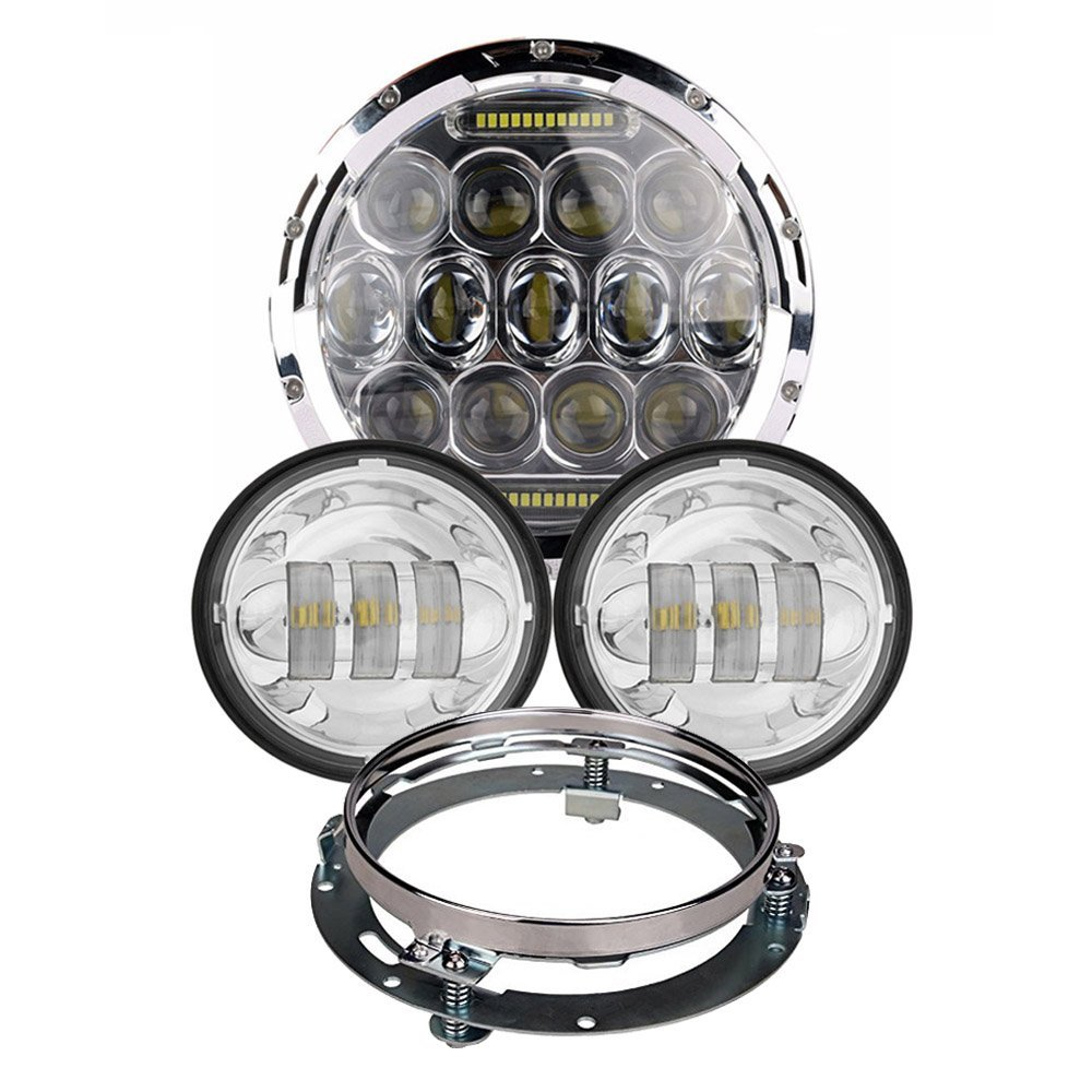 7 Inch Round LED Projector Headlight + 4 1/2  LED Auxiliary Lamps (Pack of 2) + Bezel Kit For Harley Motorcycles<br><br>Aliexpress