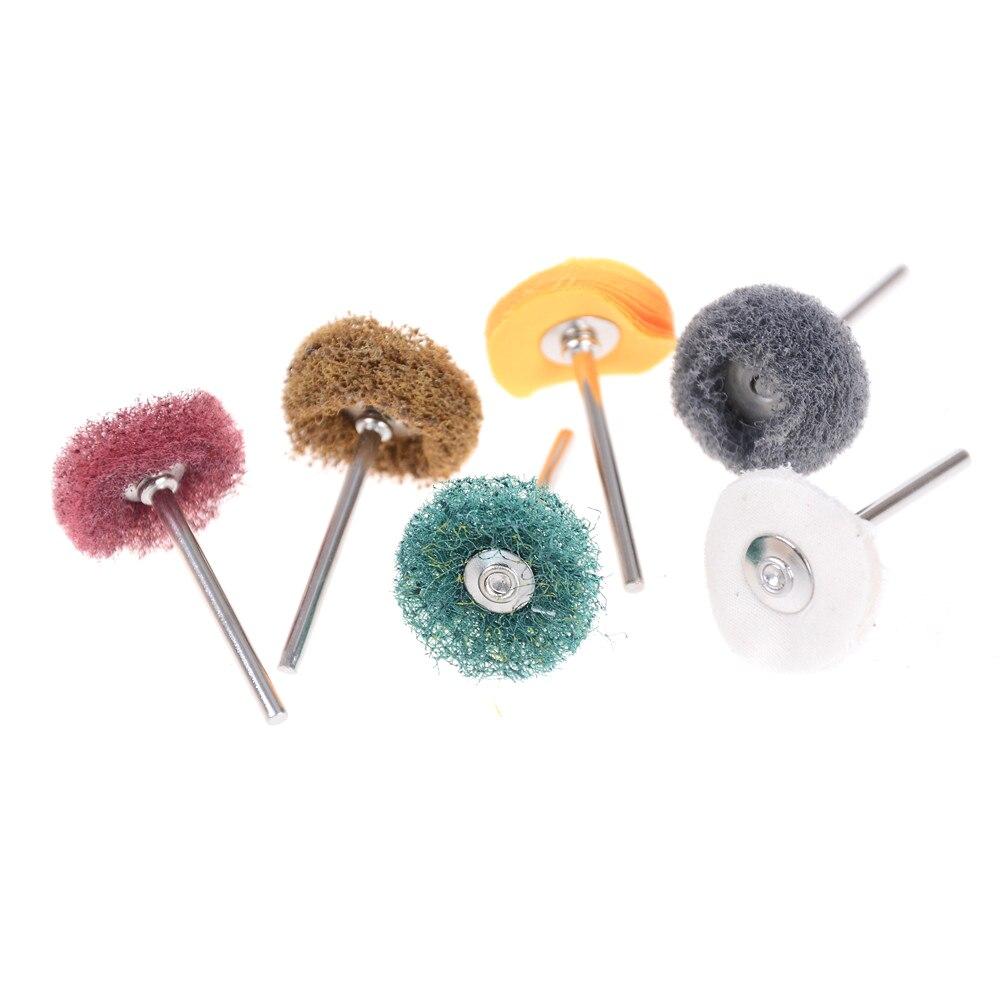 5PCS 3mm Buffing Pad Brush Shank Nylon Grinding Head Abrasive Wheel Brush Rotary Tool For Dremel Accessories Buffing Polishing
