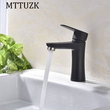 MTTUZK panit/brushed Solid 304 stainless steel basin faucet hot and cold mixer taps black crane bacia torneira free shipping
