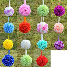 Free shipping,22cm/9'' Silk Rose Kissing Ball Flower Pomander Bouquet Flower Ball Decorations Wedding christmas Favors HQ03