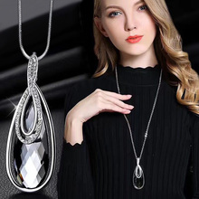 RAVIMOUR Gray Crystal Chokers Women Necklaces & Pendants Silver Color Chain Long Necklace Geometry Maxi Collier Femme Jewelry(China)