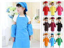 Apron+Hat+Sleeves Cute Kids Child Children Waterproof Apron Kit Solid Polyester Aprons Cooking Painting Cleaning Apron 9 Colors