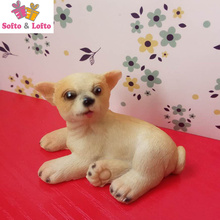 One piece mini resin Chihuahua artificial figure,car styling room decoration,Christmas gift toy doggy,puppy pet cake decorations(China)