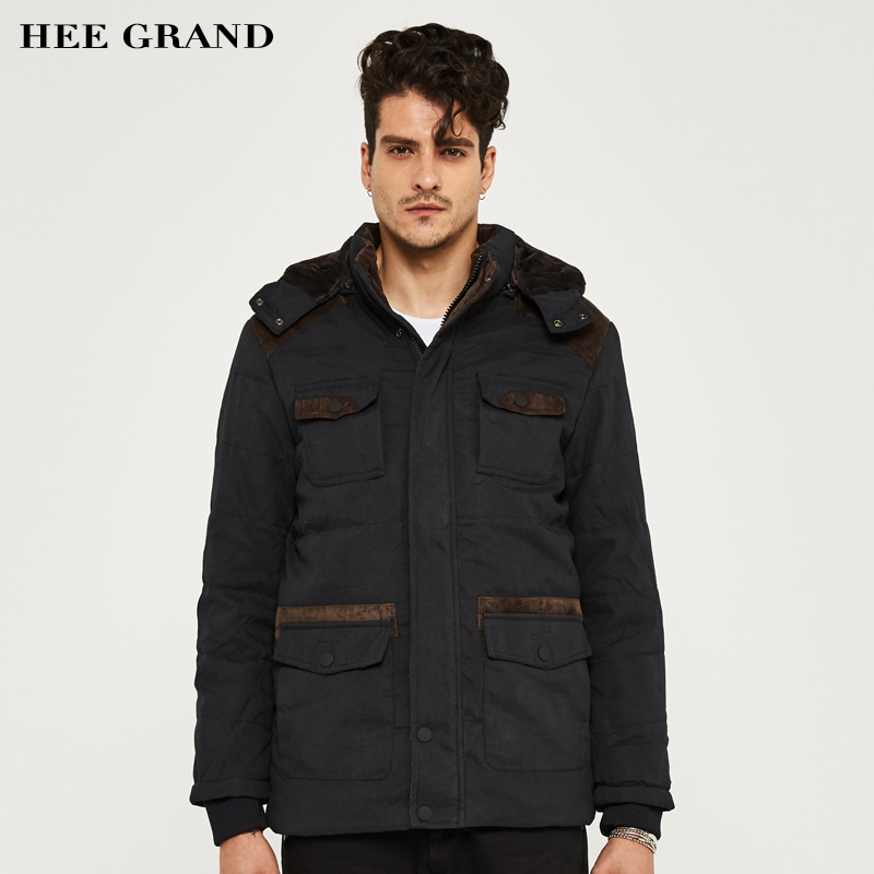 HEE GRAND Men Winter Thick Parkas Warm Hooded 2017 Hot Sale Solid Color Stand Collar Special Pockets Plus size M-3XL MWM1331Одежда и ак�е��уары<br><br><br>Aliexpress