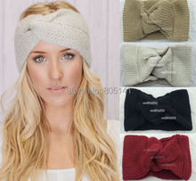 Retail Knitted Turban headband for women Ear Warmer twist black wide hair band lady hair accessories winter