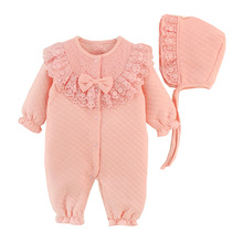 Newborn Baby Girl Clothes Cotton Coveralls Rompers Princess Lace Infant Clothing Set Romper+Hat  2pcs/set Roupas De Bebe Menina