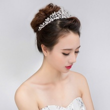 1 pcs New Wedding Bridal Princess Austrian Crystal Prom Hair Tiara Crown Veil Headband Silver accessoire cheveux mariage