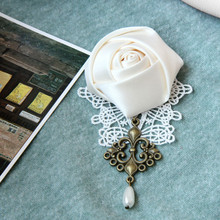 New 2017 Handmade White Rose Flower Brooches for Women Vintage Lace Brooch Pin Cloth Jewelry Elegant Weeding Dress Accessories