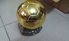 Free shipping 2014 World Cup Ballon D'OR Trophy for 19cm Resin Best Player Awards Golden ball Soccer Trophy  Mr Football trophy