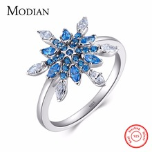 Modian High Quality Real 925 Sterling Silver Blue Snow Ring Fashion Simple Style Zircon Wedding Silver Jewelry Rings For Women(China)