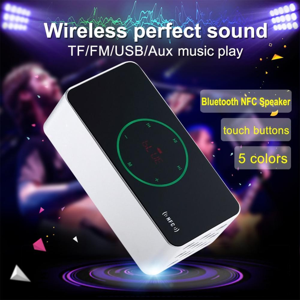 Luxury Portable Wireless NFC Touch Control Bluetooth Speaker KR-8200 3D surround Bass Stereo Support TF FM Radio LED display