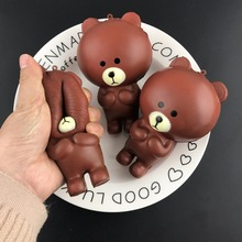 Brown Bear Squishy Antistress Hobbies Fun Toys Gags Practical Jokes Action Figure Soft Robot gift Kawaii toys for children(China)