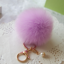 Hot Fur Pom Pom Key Chain Fluffy Keychain Chaveiro Keychain Faux Rabbit Hair Bulb Bag Car Ornament Fox Fur Ball Pendant Key Ring