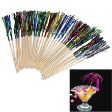 40Pcs Cocktail Rainbow Fireworks Drink Picks Sticks Wedding Party Decoration Supply Drink Stick Holidays  Luau Sticks Ornaments
