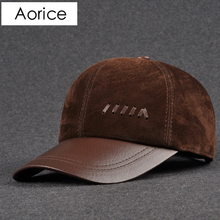 Aorice Genuine Leather Baseball Cap mens hats caps solid color brown black lea autumn 2017 High quality  genuine cowskin caps
