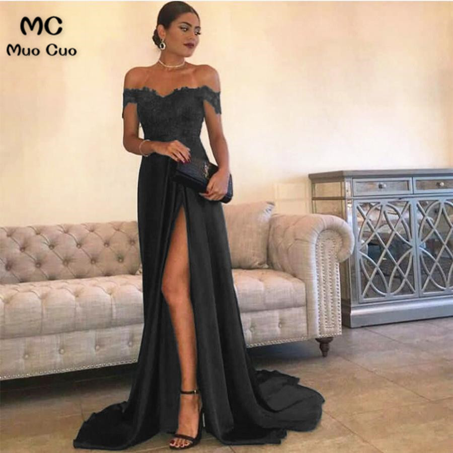 Sexy Leg Slit Long Satin Sweetheart Prom Dresses Lace Off The Shoulder Evening Gowns6