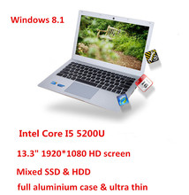 13.3inch Core I5 5200U laptop computer aluminium case 1920*1080 HD screen 4GB 500GB mixed HDD & SSD USB 3.0