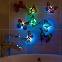 Wholesale Colorful Artificial Butterfly LED Night Light Home Party Bedroom Wedding Decoration Lights Lamp Wall Sticker Kids Gift(China)