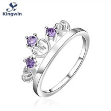 Crown heart love design silver 925 finger rings size 7 for girls friend 2017 new collection birthstone fashion jewelry women