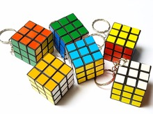 4 pc Mini 3cm Keyring with magic Cube Kids Educational Birthday Party Favors Pinata Bag Filler Loot Gag Game Brain Toy carnival
