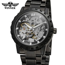 WRG8079M4B1  Winner  Automatic skeleton men  with gift box watch stainless steel bracelet factory company free shipping