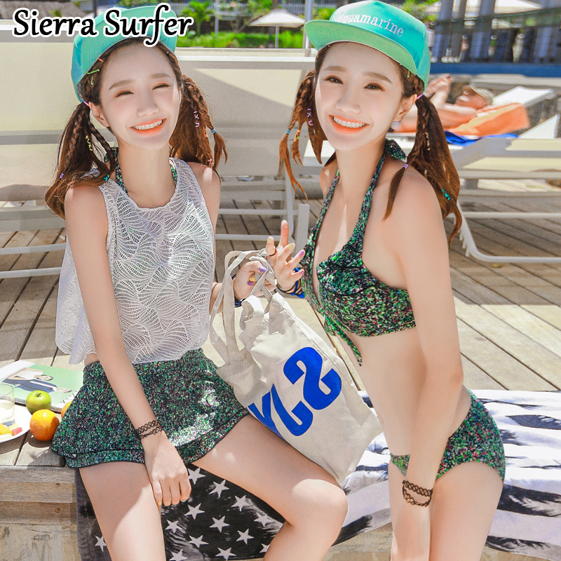 Plus Size Swimwear Woman Bikini Bathing Suit 2018 Female Beachwear For Women Swimsuit Suits Korean Lady Split Bikinis Four Piece<br>