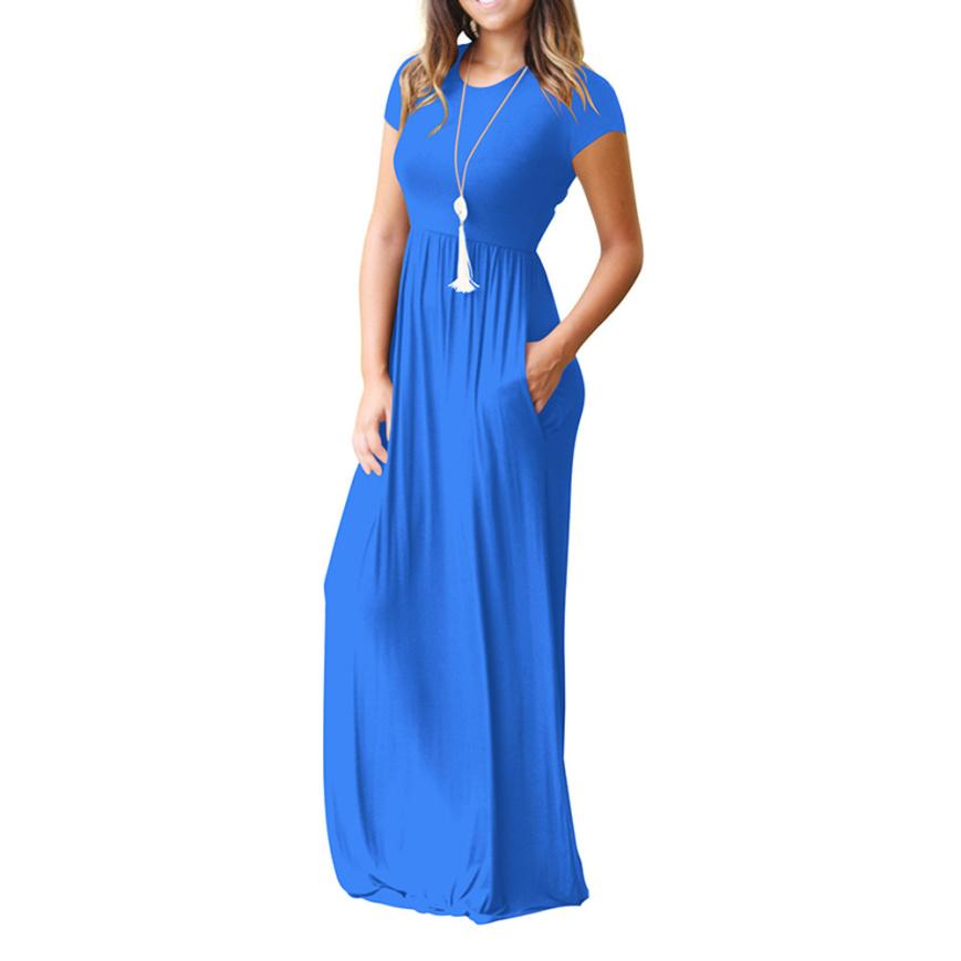 Hot Sale Floor Length Dress Women O Neck Casual Pockets Short Sleeve Loose Party Dress Vestido Longo De Festa 14