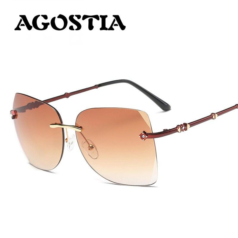 Agostia Luxury Rimless Sunglasses Women Diamonds Brand Designer Sun glasses Mirror Eyewear Integrated Lens lunette de sol femme<br><br>Aliexpress