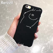Kerzzil Case For iPhone 7 6 6S Plus Art Simple Woman Sketch Lines Matte Soft Silicone Phone Cover Back For iPhone 6 7 6s Capa