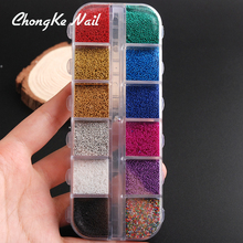 12colors/box Pastel Nail Glitter Set 3D Nail Art Glitter Glass Micro Beads Caviar Powder Dust Decoration(China)