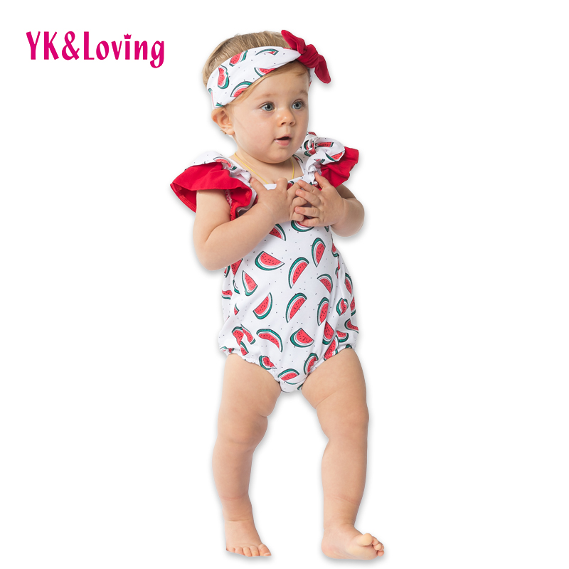 New Style Cool Cotton Bodysuit for Baby Girl Watermelon Baby Clothes Cute Girls Clothing Sets  Sleeveless Jumpsuit + Hairband A<br><br>Aliexpress