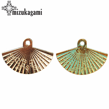 10pcs/lot 25*17MM New Retro Gold Zinc Alloy Chinese Style Hand Fan Charms Pendants For DIY Accessories Free shipping(China)