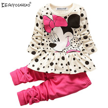 Kids Spring Fashion Baby Girls Clothes Sets Cartoon Sport Suits Long Sleeve T-shirt + Pants Color Bowknot Children Clothing Sets(China)