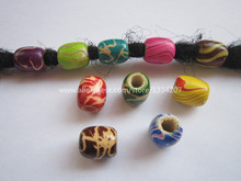 Free Shipping 20Pcs/Lot multi coloured hair braid dread dreadlock wooden Beads rings approx 5.5mm hole NO.02(China)