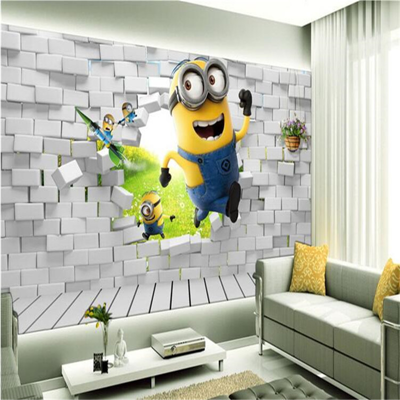 photo wallpaper 3D stereoscopic cartoon childrens room painting little yellow man sprint large mural green wall paper mural<br><br>Aliexpress