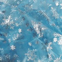 150CM*49CM blue glitter snowflake Gauze fabric Bronzing Tissue Kids dress cloth Sewing Doll cloth DIY craft quilt materials