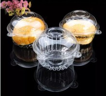 PHFU Outdoortips 50 x Single Plastic Clear Cupcake Holder / Cake Container Dome Muffin Carrier