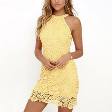 Buy 2018 Summer Women Sexy Lace Dress Elegant Party Sexy Night Club Casual Dresses Halter Neck Sleeveless Sheath Bodycon Mini Dress
