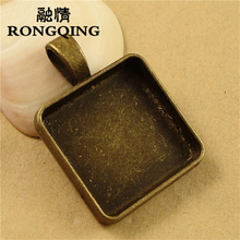 RONGQING Fabrication Bijoux 30pcs/lot Square Retro Tray 20mm Cabochon Settings DIY Jewelry Making