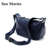 Genuine Leather Women Handbags Double Zipper Hobo Women's Shoulder Bag Ladies Messenger Bags Vintage Womens Crossbody - San Maries Official Store store