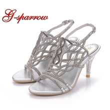 Wave Rhinestone Gladiator Stiletto Heel Sandals Bohemia Dress Shoes Cut-out  Women Summer Sandal Graduation Party Prom Shoes f23369659956
