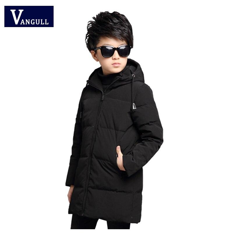 childrens Winter Overcoat  5-15 year old thicking boys Solid all-match long hooded Cotton-padded clothes boys down parkasÎäåæäà è àêñåññóàðû<br><br>