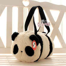 Free shipping 1pc 30cm holiday sale super cute panda cartoon plush toy baby bag cylinder handbag kids birthday gift(China)