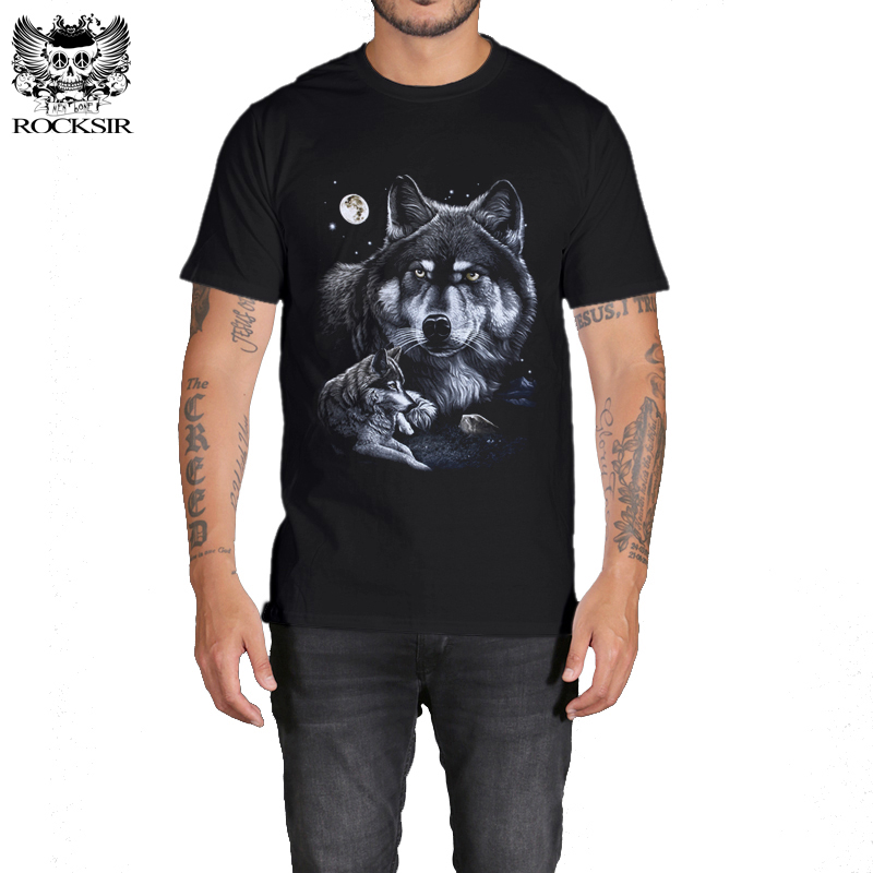 Rocksir 3d wolf t shirt mens Brand 3D Indians wolf Print t shirts Cotton wolves Men t-shirt Casual Man Tees Mens Tops 12