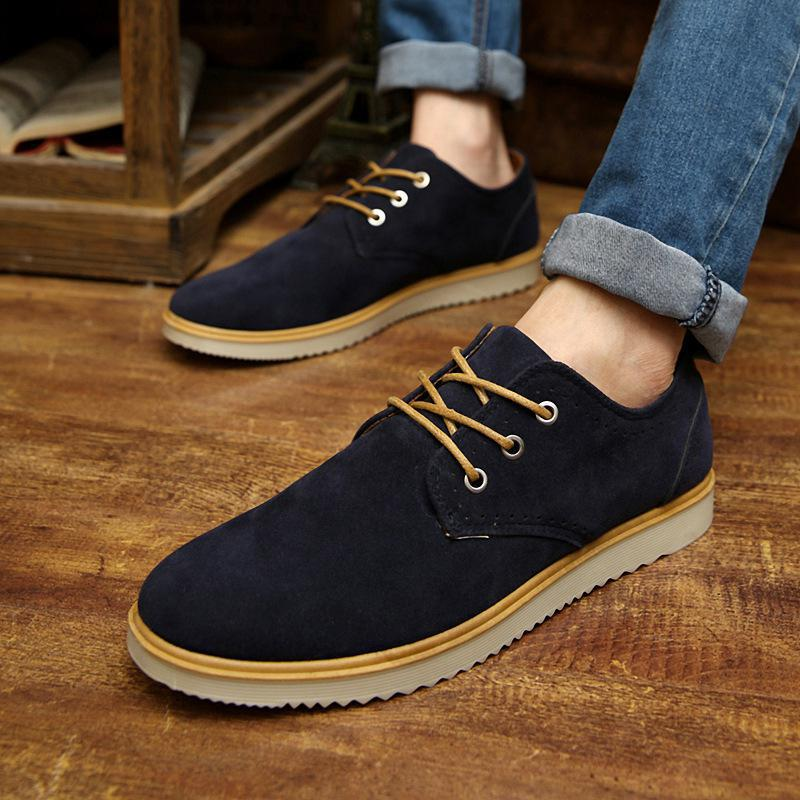 2017 Autumn Quality Mens Shoes Casual Suede Flats British Style Nubuck Leather Oxford Shoes Men Lace Up Breathable Business Flat<br><br>Aliexpress