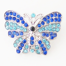 Partnerbeads Exquisite Snap DIY Butterfly Shape Snap Buttons Rhinestone DIY Findings Fixed Mixed 1.7x2cm For Women MenKB7046(China)