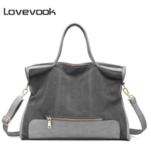 LOVEVOOK brand fashion female shoulder bag high quality patchwork split leather handbag ladies tote bag for office work