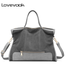 LOVEVOOK brand fashion female shoulder bag high quality patchwork split leather handbag ladies tote bag for office work(China)